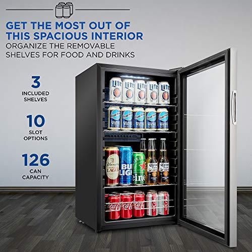 Ivation 126 Can Beverage Refrigerator Cooler Specs