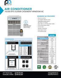 PerfectAire 10,000 BTU Slider Air Conditioner Window A/C  Specs