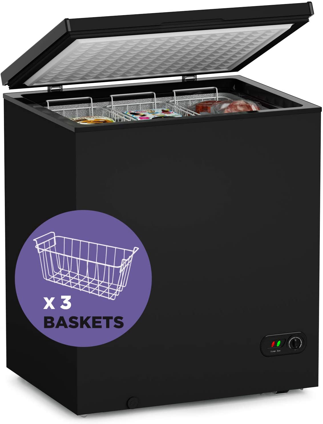 ADT Chest Freezer Black, 5.0 Cubic Feet