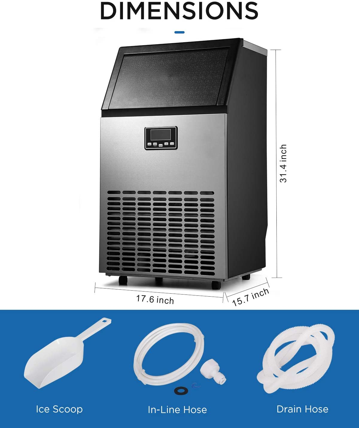 CoolLife Commercial Ice Maker 100lbs Specs