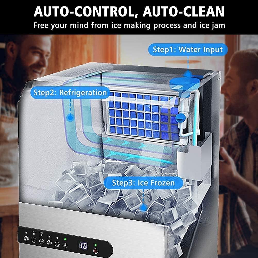 LifePlus Commercial Ice Maker Machine, 100lbs/24h Specs