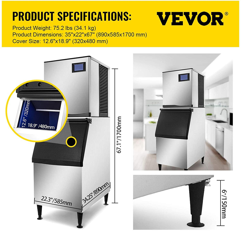 VEVOR 110V Commercial Ice Maker 400LBS/24H Specs