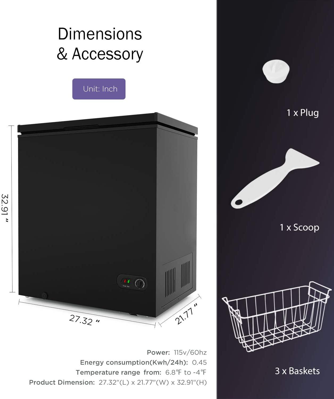 ADT Chest Freezer Black, 5.0 Cubic Feet  Specs