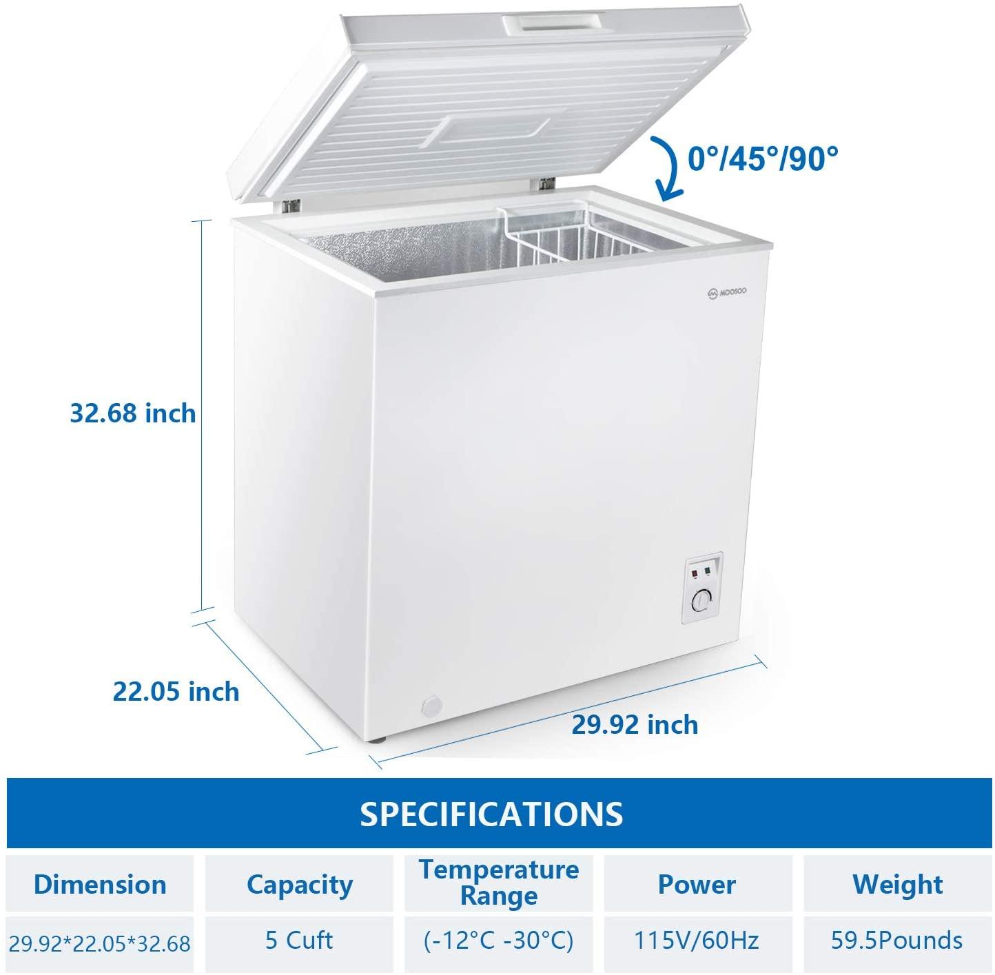 MOOSOO Chest Freezer, 5.0 Cubic Feet Deep Freezer Specs