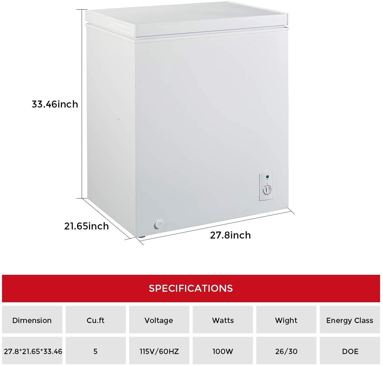 KEG 5.0 Cubic Feet Top Chest Freezer Specs