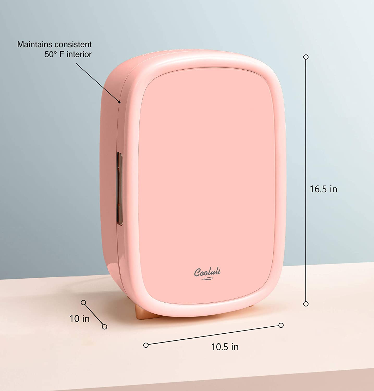 Cooluli Beauty Pink 12-liter Skincare Fridge for Makeup Storage Specs