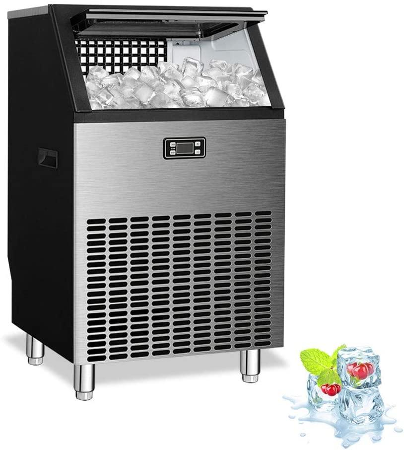 Kismile Commercial Ice Maker Machine,Freestanding Ice Cube Maker