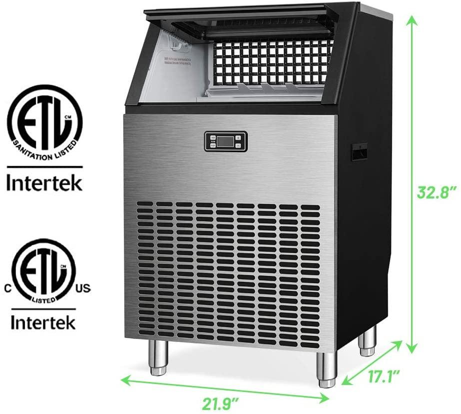 Kismile Commercial Ice Maker Machine, Freestanding Ice Cube Maker Specs