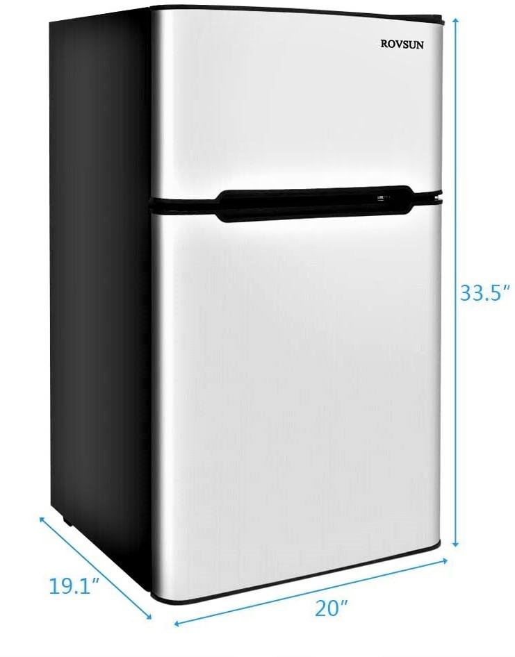 ROVSUN 2 Door 3.2 CU FT Upright Mini Fridge with Freezer Specs