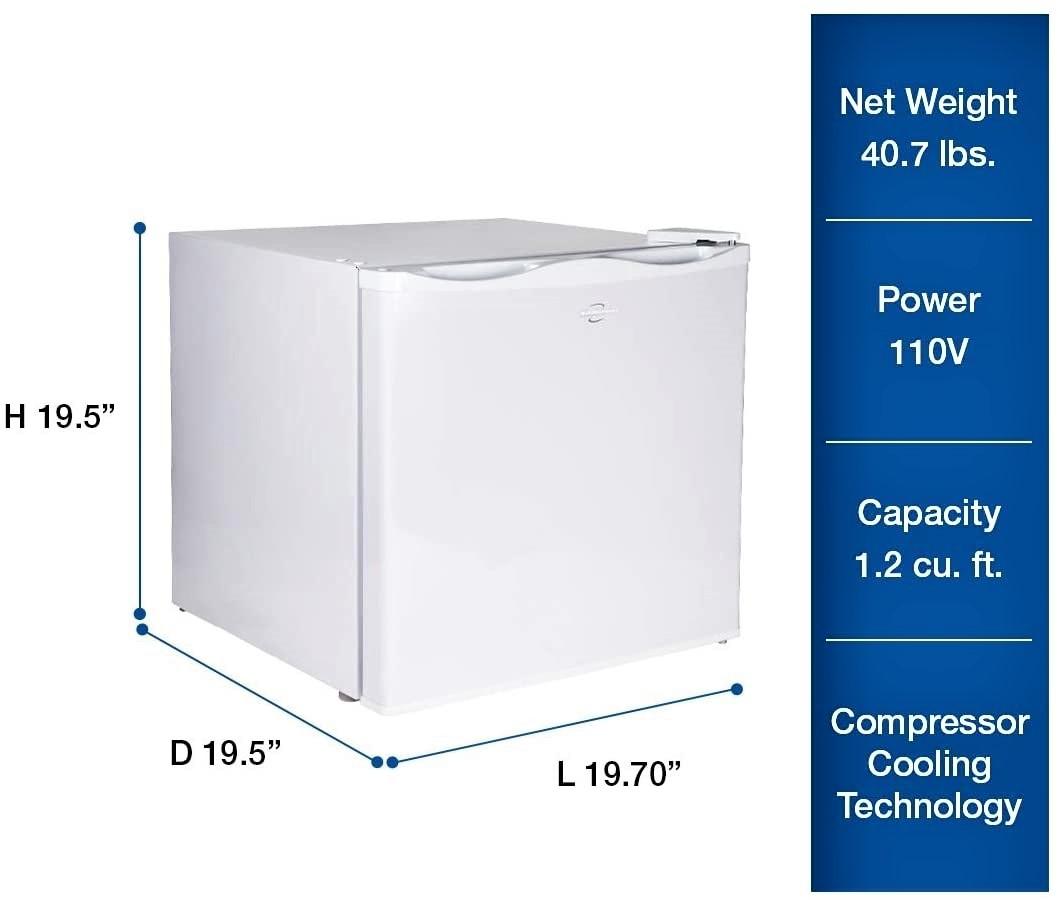 Koolatron Upright Freezer with Compressor Cooling, 1.2 Cu Ft Chest Freezer Specs