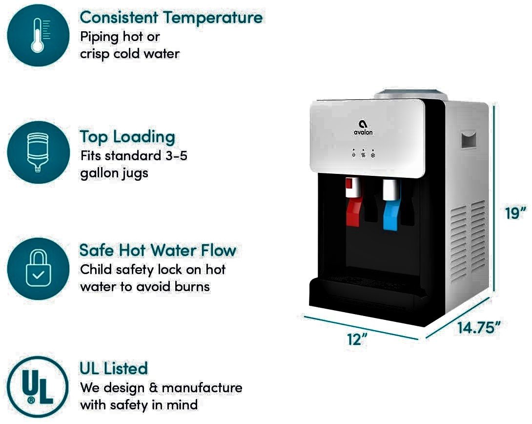 Avalon Premium Hot/Cold Top Loading Countertop Water Cooler Dispenser Specs