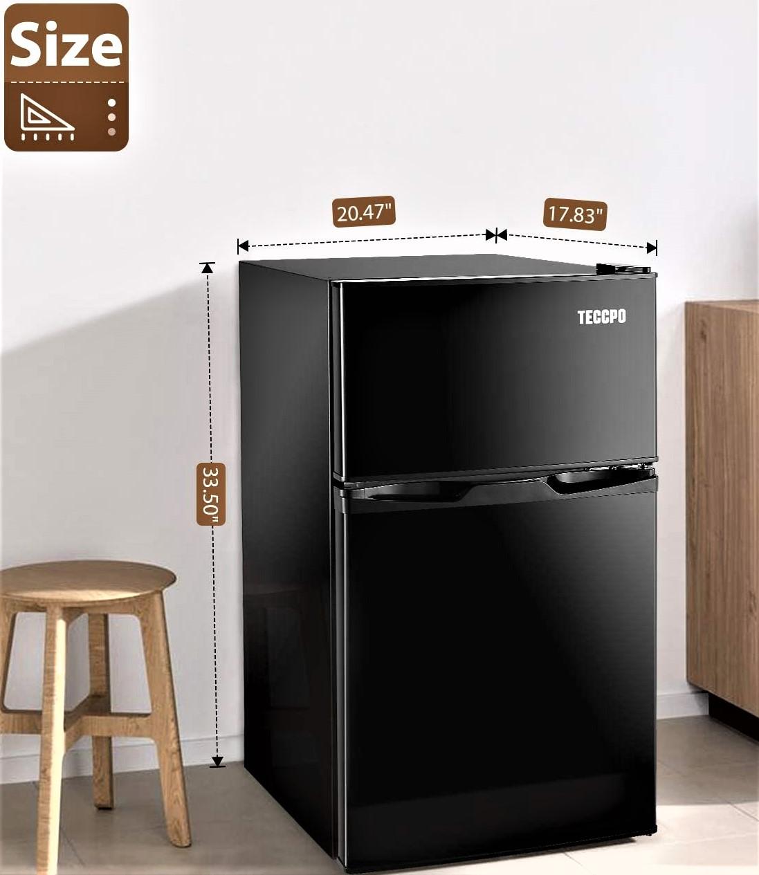 TECCPO Mini Fridge with Freezer, 3.0 Cu.Ft Specs