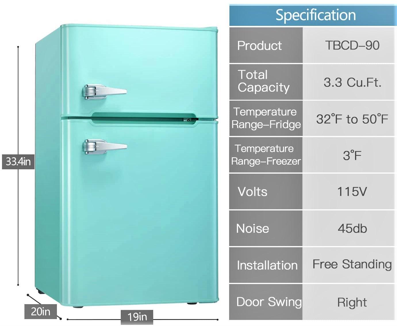 Tavata 3.2 Cu Double Door Mini Fridge with Top Door Freezer Specs