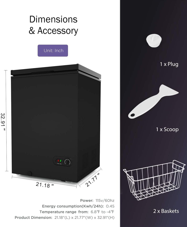 ADT 3.5Cu.Ft Free-Standing Chest Freezer  Specs