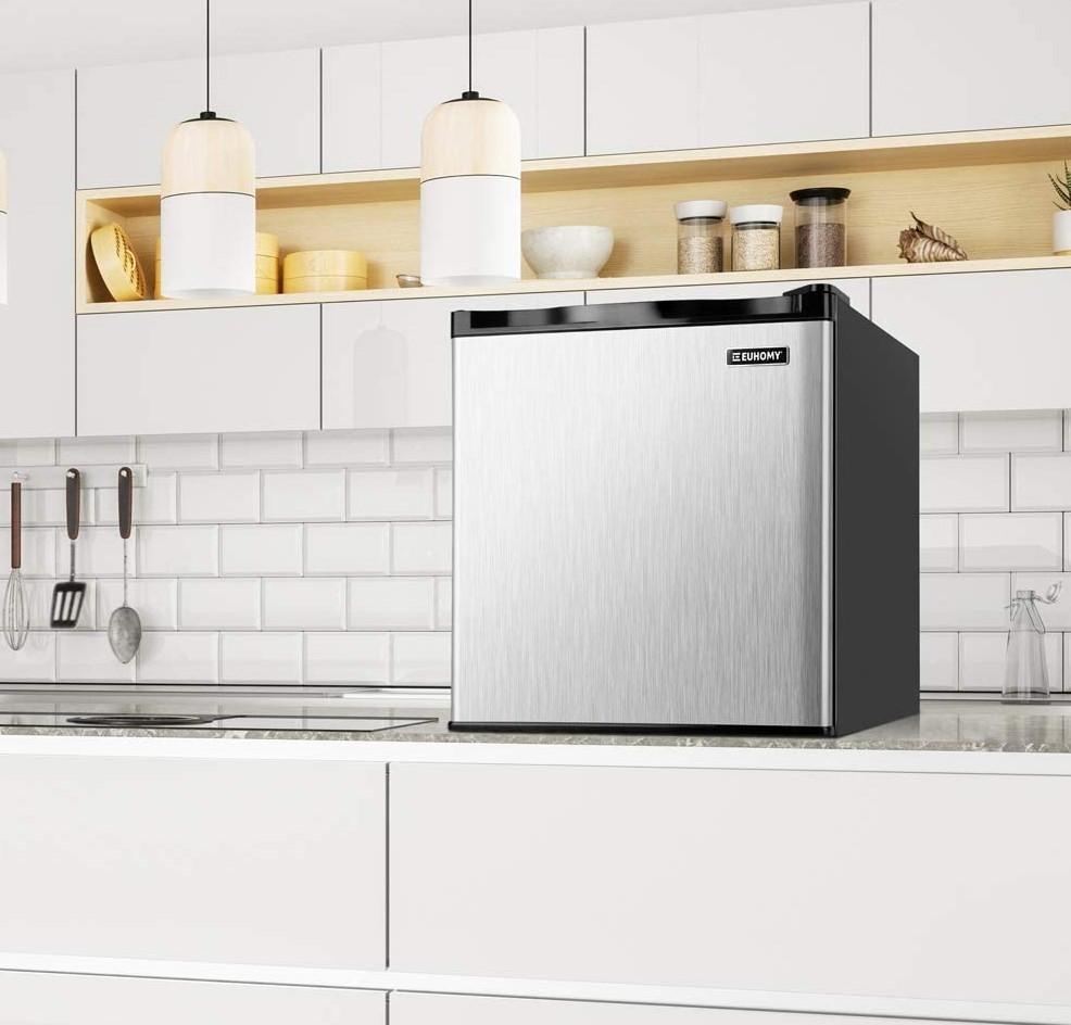 Euhomy Mini Freezer Countertop, 1.1 Cubic Feet, Single Door Compact Upright Freezer