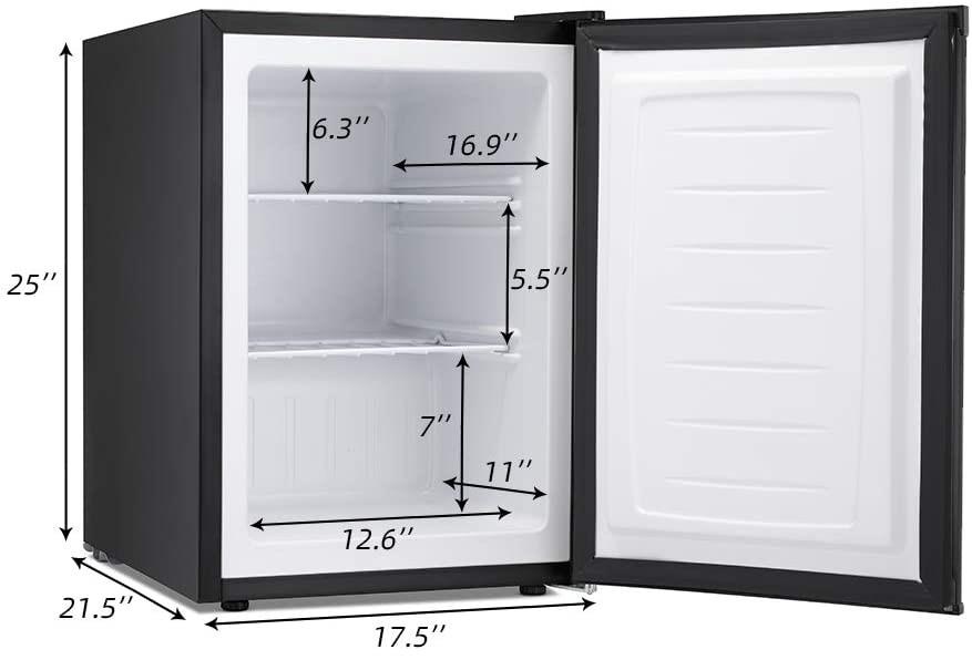 Kismile 2.1 Cu.ft Compact Upright Freezer with Reversible Single Door Specs