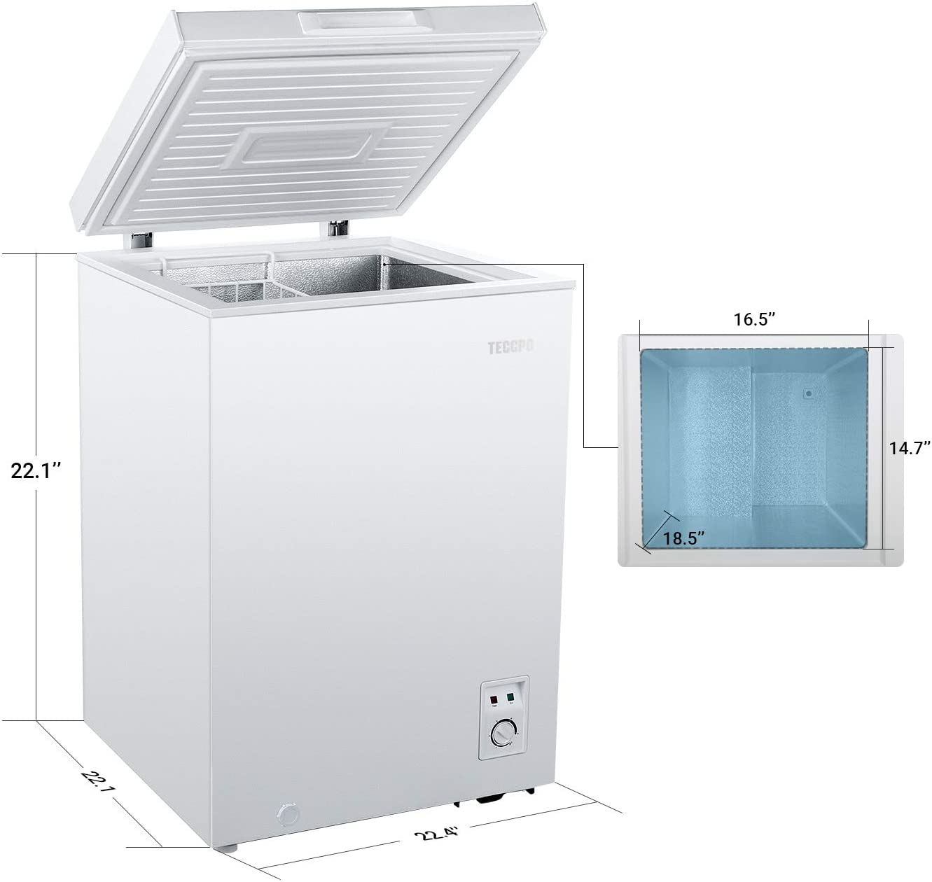 TECCPO Chest Freezer 3.5 Cu Ft  Specs