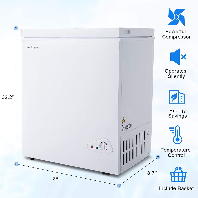 Nictemaw Chest Freezer, 5.3 Cu.Ft Large Capacity Specs