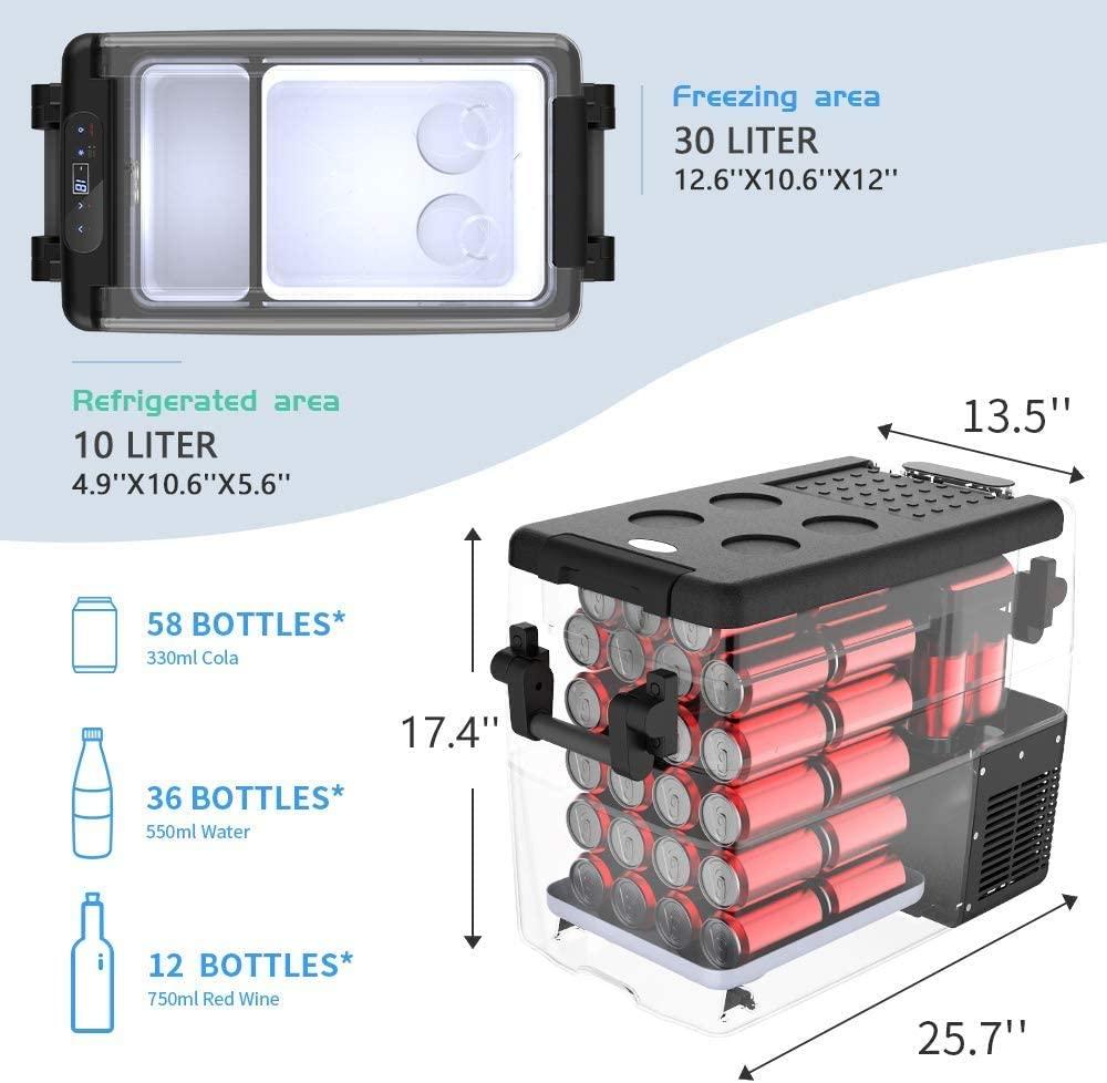 JoyTutus Car Freezer 42 Quart(40L)  Specs
