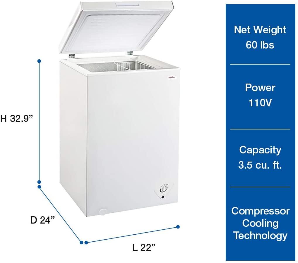 Koolatron KTCF99 3.5 Cu. Ft. (99 Liters) Chest Freezer Specs