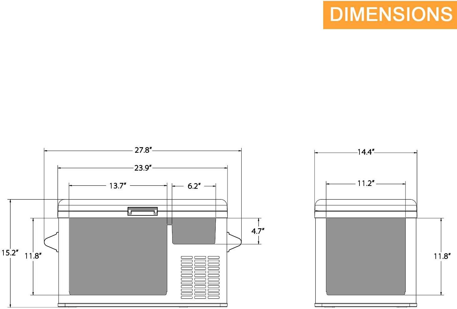 Aspenora 37-Quart Portable Fridge Freezer 12V Car Specs