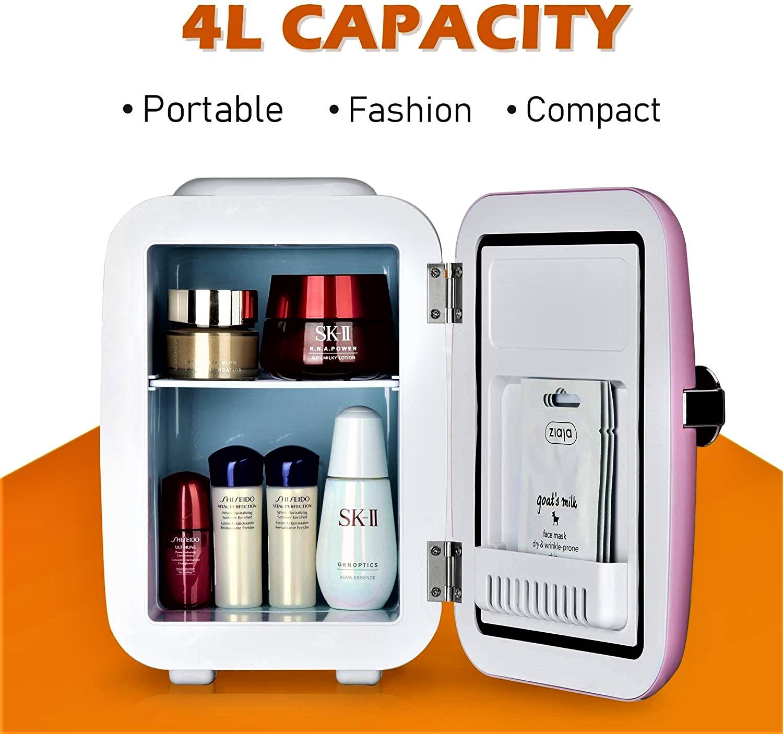 Euhomy Mini fridge for bedroom, 4 L / 6 cans Portable fridge