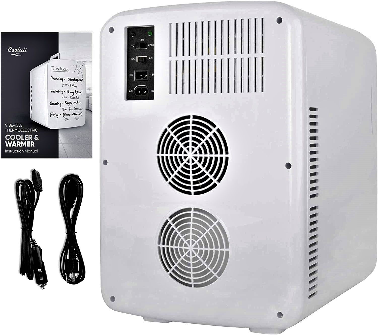 Cooluli Vibe White 15 Liter Compact Portable Cooler Warmer Specs