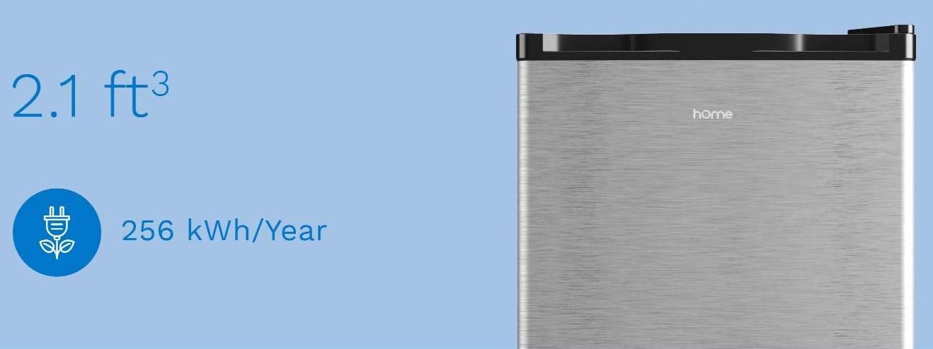 hOmelabs 2.1 Cu Ft Upright Freezer - Reversible Single Door Vertical Freezer