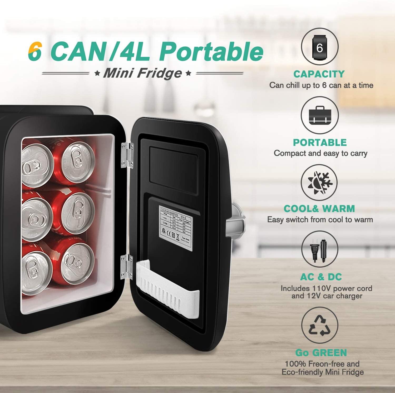 CROWNFUL Mini Fridge, 4 Liter/6 Can Portable Cooler and Warmer Personal Fridge
