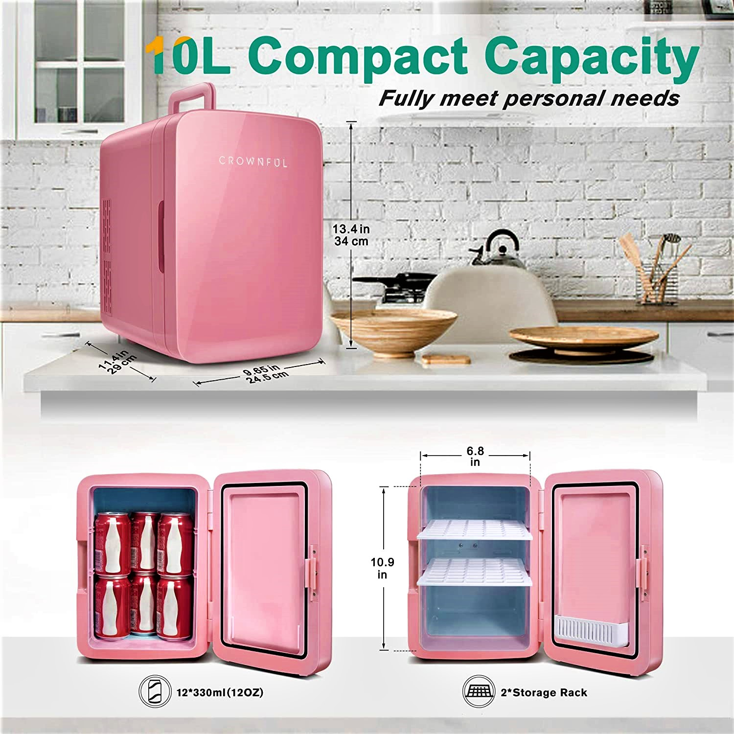 Crownful Mini Fridge, 10 Liter/12 Can Portable Cooler and Warmer Specs