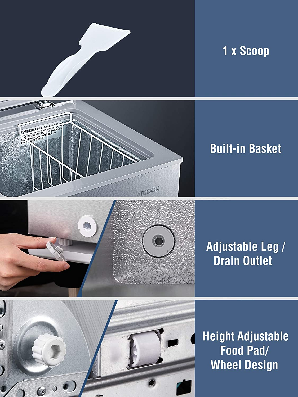 AICOOK  Chest Freezer, 3.5 Cu.Ft Specs