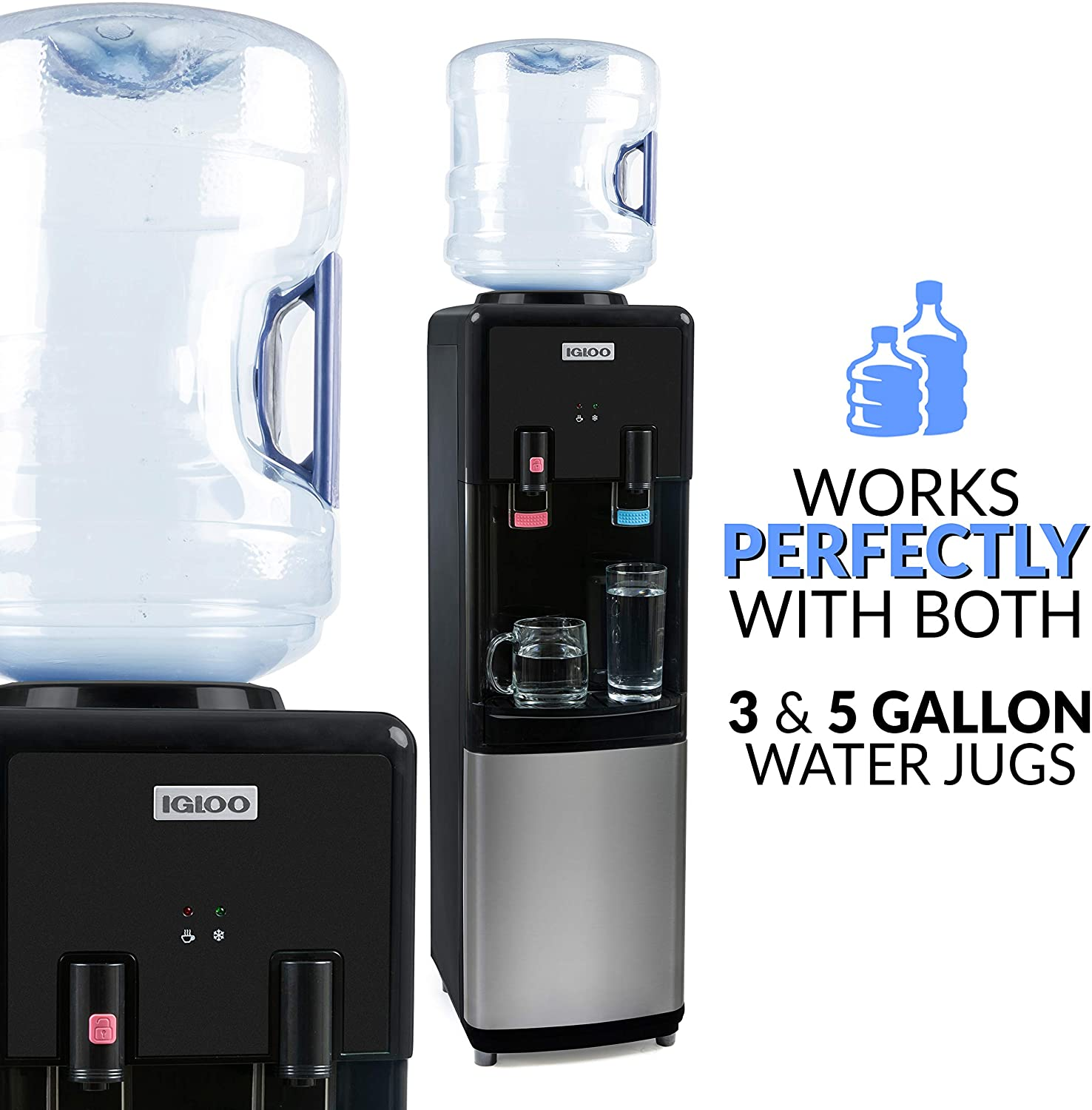 Igloo IWCTL352CHBKS Stainless Steel Hot & Cold Top-Loading Water Cooler Dispenser
