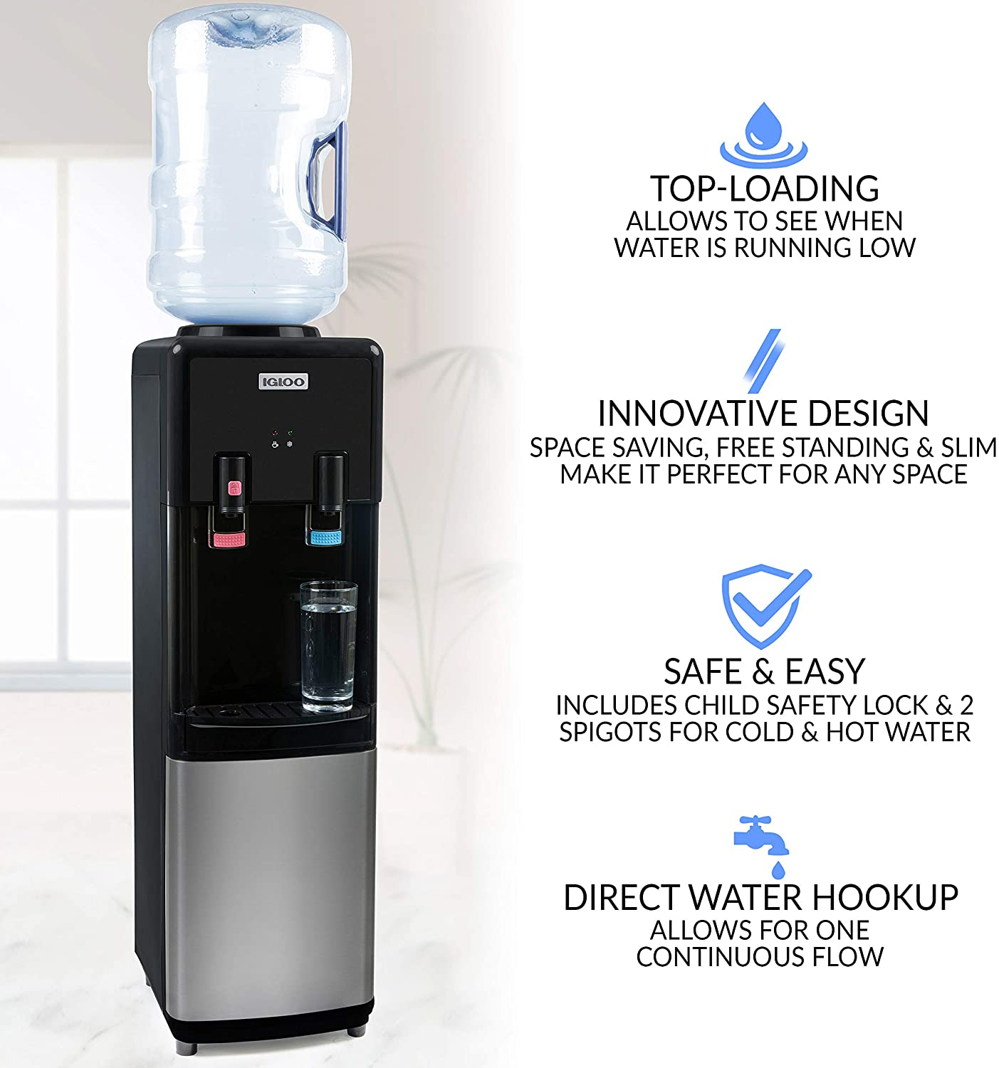 Igloo IWCTL352CHBKS Stainless Steel Hot & Cold Top-Loading Water Cooler Dispenser Specs