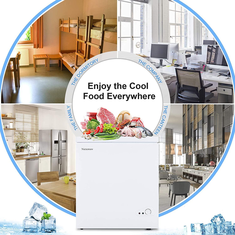 . Nictemaw Chest Freezer, 5.3 Cu.Ft Large Capacity