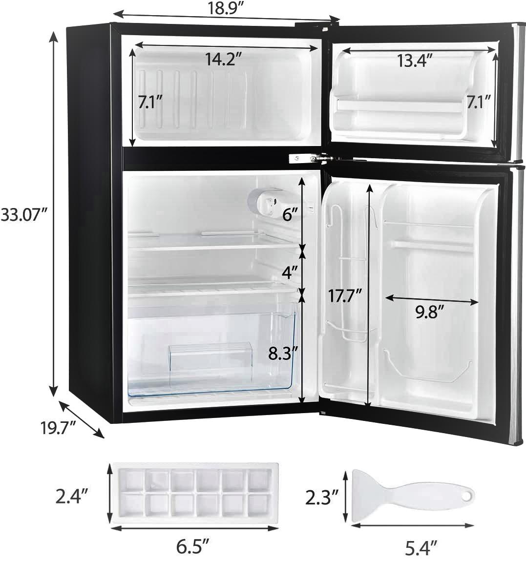 Euhomy Mini Fridge with Freezer 3.2 Cu.Ft Specs