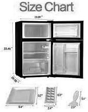 BBossin 3.2 Cu. Ft Compact Refrigerator Two Door MIni Fridge Chiller and Freezer Specs