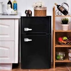 Bossin 3.2 Cu. Ft Compact Refrigerator Two Door MIni Fridge Chiller and Freezer